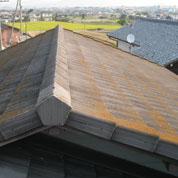 屋根の色があせてきた。塗膜のはがれ、コケや藻などの汚れが目立つ。